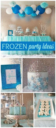 A Frozen birthday party with sparkly snowflakes and a gorgeous cake! See more party planning ideas at CatchMyParty.com!