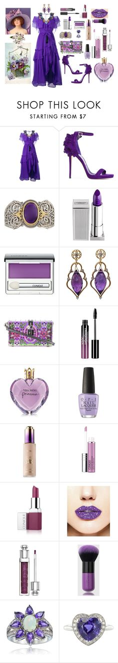 """""""Sweet Purple"""" by sherrysrosecottage-1 ❤ liked on Polyvore featuring Alberta Ferretti, Jimmy Choo, Konstantino, Lipstick Queen, Clinique, Wayne Smith Jewels, Dolce&Gabbana, Charlotte Russe, Vera Wang and OPI"""