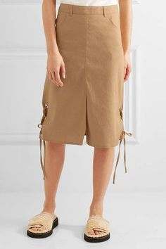 See by Chloé - Lace-up Linen-blend Midi Skirt - Camel - FR44