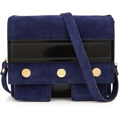 Kenzo Bike Cross-Body Studded Bag ($610) ❤ liked on Polyvore featuring bags, handbags, shoulder bags, navy, studded purse, blue shoulder bag, blue purse, blue handbags and patent leather handbags