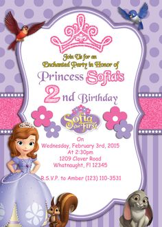 Print Your Own Sofia the First Invitation by Atom por AtomDesign