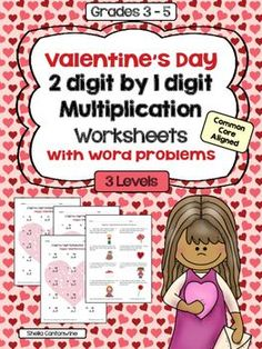 These Valentines Day Math themed worksheets cover 2 digit by 1 Digit Multiplication.  There are 4 worksheets in this product.  Level 1 is basic, Level 2 is more difficult and Level 3 is the most challenging.  The 4th worksheet includes Valentine's Day themed word problems.  Perfect for math centers!