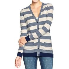 Old Navy Womens V Neck Boyfriend Cardis - Blue stripe ($23) ❤ liked on Polyvore featuring tops, cardigans, women, old navy, stripe cardigan, button front cardigan, boyfriend cardigan and vneck cardigan