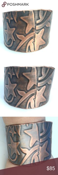 Bohemian Patina Abstract Wide Copper Cuff Bracelet Gladiator Petite Psychedelic