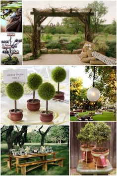 Theme : Very simple green palette with subtle touches of brown, and heavy use of natural elements – branches, leaves, twigs, and simple floral arrangements in white and green.