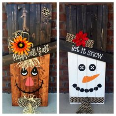 Reversible Scarecrow Snowman, Pallet Sign, Porch Decor, Porch Sign, Seasonal Decoration, Reversible Sign  Very cute REVERSIBLE Scarecrow/Snowman seasonal decor! Use all fall and winter, just flip the sign! Use year after year! These pallet signs are sanded, painted, stained and sealed. Indoor/outdoor use. For best results, use in COVERED area outside. Perfect for a porch or patio. Please do not leave in an area where it will be directly exposed to rain. These signs are very sturdy. I use…