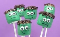 marshmallow Frankenstein tutorial - would be a fun cake pop