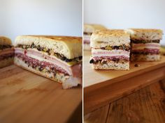 muffaletta sandwich (focaccia, olive spread and lots of cold cuts and cheese layers)