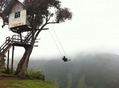 The swing was built in Ecuador, but it seems to be on the edge of the world.