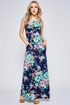 6dbf84b9d14 Beeson River Floral Racer Back Maxi Dress - Navy