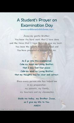 A students prayer on exam day