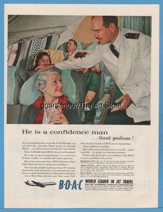 1959 BOAC British Airways steward photo He's a Confidence Man B.O.A.C.airline ad