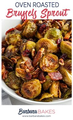 Oven Roasted Brussel Sprouts with Bacon is a savory and smoky one-pan side dish with crispy Brussel sprouts, bacon, buttery pecans, and bright dried cranberries. Brussel Spouts With Bacon, Crispy Brussel Sprouts, Roasted Sprouts, Sprouts With Bacon, Veggie Side Dishes, Side Dish Recipes, Bacon Recipes, Veggie Recipes, Baked Okra