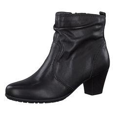 Anschmiegsame Tamaris Jane Stiefeletten aus Echtleder. Am Schaftrand besitzen die Schuhe einen praktischen Stretcheinsatz, der für eine optimale Passform sorgt.  - Verschluss: Reißverschluss - Schafthöhe an Gr. 37: ca. 11,5 cm - Schaftweite an Gr. 37: ca. 26 cm - Absatzart: Trichter - Absatzhöhe: ca. 5 cm  Obermaterial: Leder Futter: Textil Decksohle: Textil, sonstiges Material (Synthetik) Lauf...