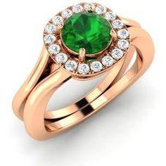 Diamondere Round Emerald VS Diamond 14k Rose Gold Halo Ring