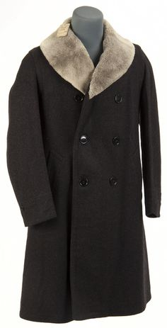 Men's Town and Country melton wool coat with brown leather lining and white/grey collar. Manufactured by Guiterman Brothers, Inc., St. Paul, Minnesota, circa 1930s-40s.  ID # 2009.170.13  Minnesota Historical Society
