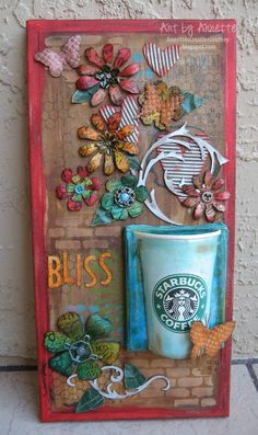 Annette's Creative Journey: Starbucks Altered CanvasYou can find Altered canvas and more on our website. Mixed Media Artwork, Mixed Media Collage, Mixed Media Canvas, Collage Art, Altered Canvas, Altered Art, Altered Tins, Paper Art, Paper Crafts
