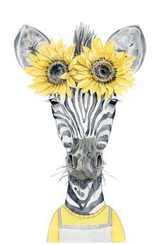 nursery zebra art print by Polina Bright Zebra Illustration, Watercolor Illustration, Shrek, Colorful Drawings, Art Drawings, Zebra Drawing, Drawing Artist, Artist Art, Zebra Art