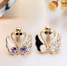 Earrings Counter synchronization One pair of swans female diamond earrings Animal shapes Exquisite earrings Stud Fashion Jewelry - http://www.aliexpress.com/item/Earrings-Counter-synchronization-One-pair-of-swans-female-diamond-earrings-Animal-shapes-Exquisite-earrings-Stud-Fashion-Jewelry/32288093867.html