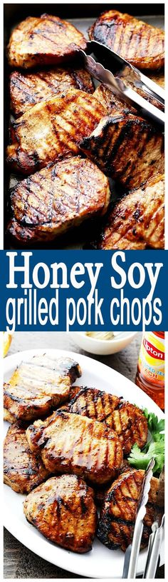 Honey Soy Grilled Pork Chops - Incredibly juicy pork chops marinated in a honey and soy sauce mixture, and grilled to a tender perfection!