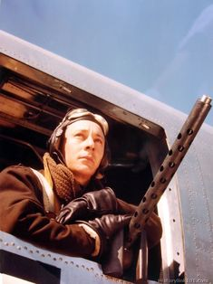 The engineer and waist gunner on a B-24 of the 8th Air Force in England.