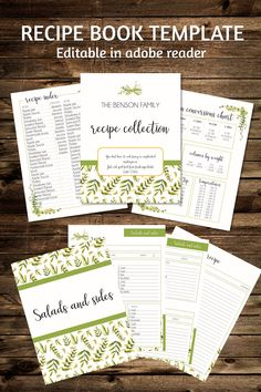 Recipe binder printable pack is editable in adobe reader to customize for your family recipe collection. It includes over 40 recipe book pages Recipe Book Templates, Cookbook Template, Printable Recipe, Cookbook Ideas, Homemade Recipe Books, Diy Recipe Book, Recipe Box, Recipe Book Covers, Family Recipe Book