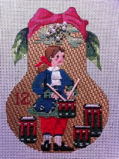 Pocket Full of Stitches, and the AMAZING Rhea, are credited for the incredible stitch selections for Kelly Clark's 12 Days of Christmas Pears - HUGS AND STITCHES blog