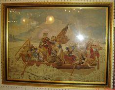 ANTIQUE-George Washington crossing of the Delaware River Needlepoint Tapestry