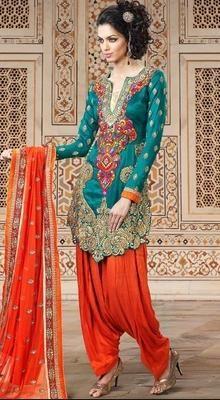 Magnificient Geenish Blue Salwar Kameez