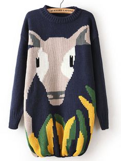 Navy Long Sleeve Calf Pattern Loose Sweater US$37.38