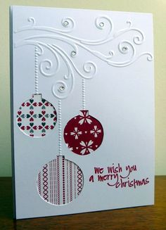 Ornament Card We Wish You a Merry Christmas card from Stamps, Pencils and Paper!We Wish You a Merry Christmas card from Stamps, Pencils and Paper! Merry Christmas Card, Christmas Cards To Make, Christmas Makes, Embossed Christmas Cards, Holiday Cards, Christmas Ideas, White Christmas, Elegant Christmas, Scandinavian Christmas
