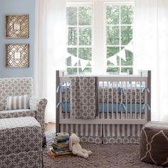 Gray Geometric Crib Bedding | Baby Boy Crib Bedding in Gray and Blue | Carousel Designs #nursery #baby