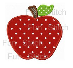 Apple back to school applique design machine embroidery design