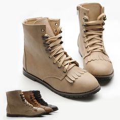 New Womens Shoes Military Army Lace Ups Combat Boots Flats He Multi Colored   eBay