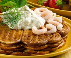 Waffles - with cream and jam for dessert.