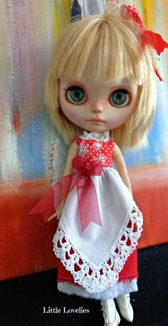 BLYTHE DOLL Dress - OOAK - Christmas Wish - Antique pure linen with hand embroidered border by Little Lovelies, $40.50 AUD