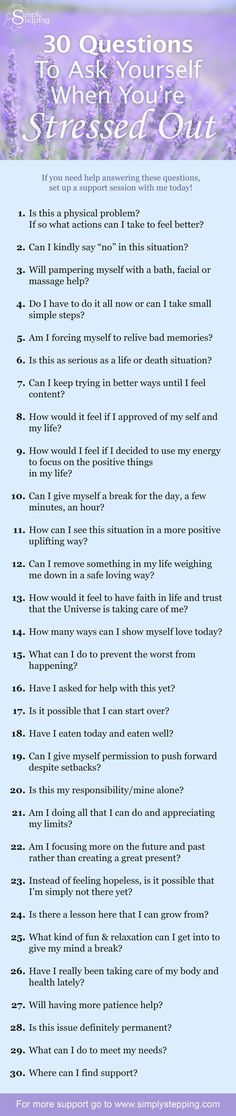 Feeling stressed out is one of the hardest feelings to shake off. Take a break from the seemingly endless loop of stressful thoughts and ask yourself these questions!