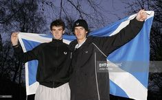 Brothers Jamie Murray (L) and Andy Murray of Scotland pose for a photo previewing the Aberdeen Tennis Cup on November 25, 2005 at the Marcliffe Hotel in Aberdeen, Scotland.