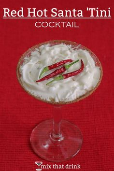 The Red Hot Santa Tini mixes chili pepper infused vodka with Godiva chocolate liqueur, whipping cream and a rim of cocoa and chili powder. The result is a surprisingly tasty spicy-sweet drink.