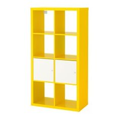 IKEA KALLAX Shelving unit with doors Yellow cm Choose whether you want to place it vertically or horizontally and use it as a shelf or sideboard. Ikea Kallax Shelving, Kallax Shelving Unit, Bookcase Shelves, Display Shelves, Storage Shelving, Small Storage, Storage Spaces, Ikea Yellow, Malm Bed Frame