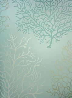 Coral Reef Wallpaper A wallpaper featuring stylised images of coral in white, gold and teal on an aqua background.