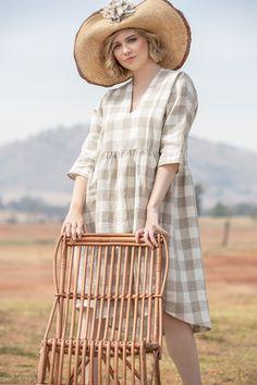 Paula Dress | Parchment Plaid Long Linen Dresses, Style Inspiration, Style Ideas, Dresses Online, Hemline, Plaid, Clothes For Women, My Style, Sunday