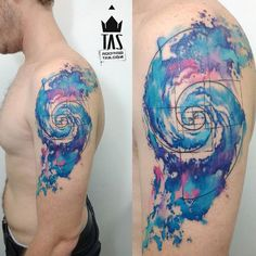 Watercolor Galaxy Spiral & Golden Ratio