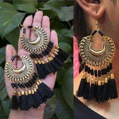 Buy oxidised Earrings at affordable price indian Tassel oxidised Earrings Indian Jewelry Earrings, Indian Jewelry Sets, Jewelry Design Earrings, Indian Wedding Jewelry, Fashion Earrings, Fashion Jewelry, Silver Earrings, Silver Jewelry, Silver Necklaces