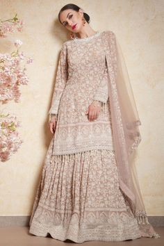 Light Pink Georgette Lehenga Suit with Lakhnavi Inspired Thread Embroidery Jacket Lehenga, Lehenga Suit, Lehenga Choli, Lehnga Dress, Anarkali Suits, Saree, Indian Suits, Indian Attire, Pakistani Dresses