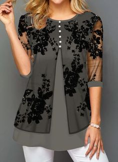 Year Sale Floral Casual Round Neckline Sleeves Blouses Floral Casual Polyester Round Neckline Gray Sleeves Shift Blouses Buttons S M L XL XXL BlousesFloral Casual Polyester Round Neckline Gray Sleeves Shift Blouses Buttons S M L XL XXL Blouses Women's Fashion Dresses, Casual Dresses, Fashion Blouses, Black Work Dresses, Latest Fashion For Women, Fashion Online, Blouse Styles, Buy Dress, Blouses For Women