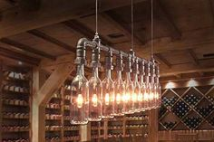 A suspension lamp made from wine bottles