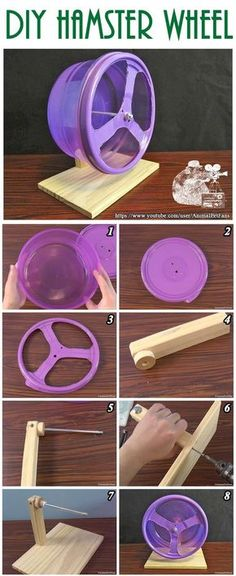 Como fazer uma rodinha para hamster - How to make hamster wheel Diy Hamster House, Hamster Diy Cage, Hamster Life, Hamster Habitat, Hamster Stuff, Pet Mice, Pet Rats, Diy Mouse Toys, Gerbil Toys