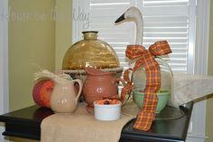 fall in love with your fall tabletops, seasonal holiday decor, Fall theme ribbon is a great way to add a touch to existing home decor items Side Table Decor, Dining Room Table, Table Decorations, Fall Kitchen Decor, Fall Is Coming, Autumn Theme, Home Decor Items, Decorative Items, Falling In Love