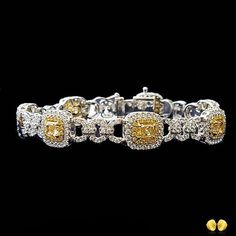 Best Diamond Bracelets : The final post in our fancy yellow diamond bracelet series has white diamond paved links between the fancy yellow diamonds, and yellow and white halos for extra style White Gold Diamond Bracelet, Diamond Bracelets, Diamond Jewelry, Bangle Bracelets, Diamond Gemstone, Silver Bangles, Sterling Silver Bracelets, Silver Jewelry, Silver Ring